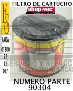Filtro cartucho de alta eficiencia standar para aspiradora Shop Vac 9030433 clave 44002